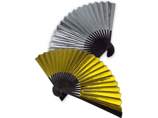 Reverse Gold/Silver Foil Paper Folding Fan - 9 in.