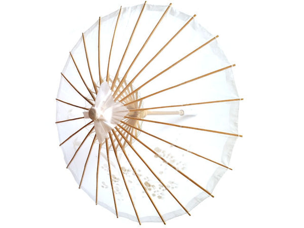 Hand Painted Nylon Organza Parasol - White