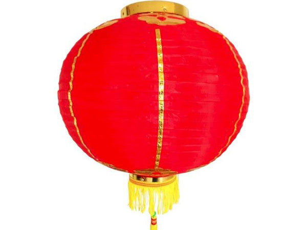 Red Nylon Lantern w. Gold Trimming - (Large) Pack of 2