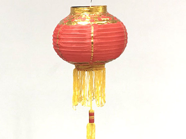 Red Nylon Lantern w. Gold Trimming - 6""