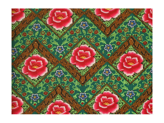 Diamond Pattern Peony Print Cotton Fabric