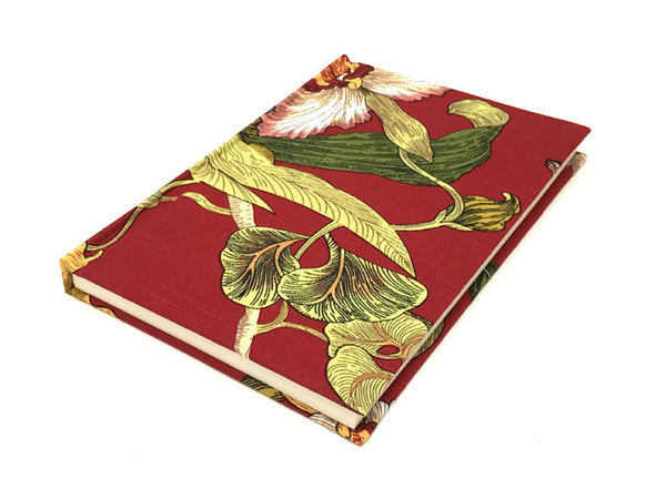"Hand Painted Floral Fabric Cover Notebook - 5.75"" X 8.5"""