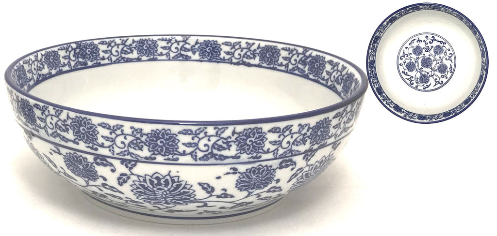Blue Lotus & Vine Pattern - Super Wide Bowl