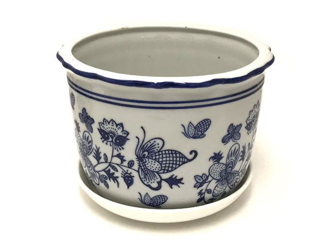 Blue on White Ceramic Flower Pot w. Tray (Bee & Butterfly) ( Temp out of Stock )