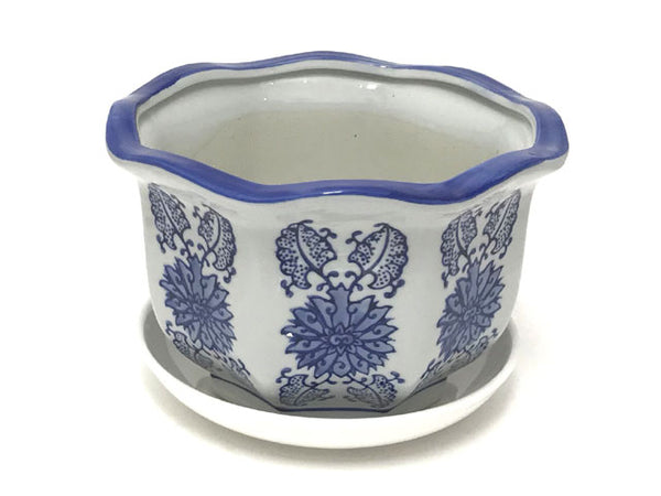 Blue on White Ceramic Flower Pot w. Tray (Lotus Design) ( Temp out of Stock )