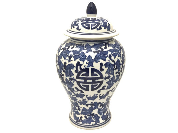 "Blue on White Ceramic Temple Jar - 15""H"