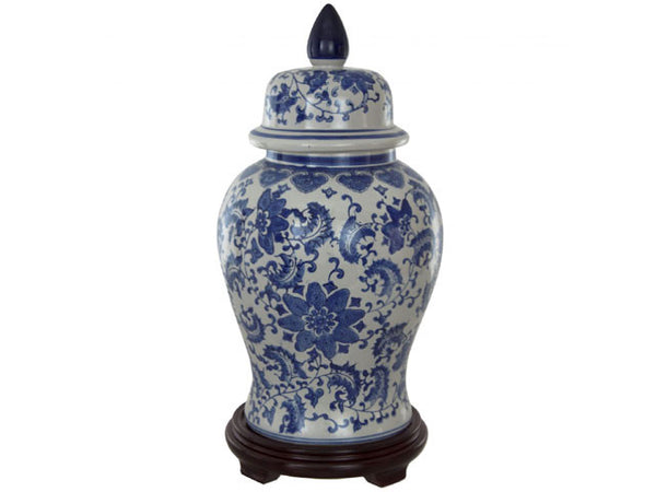 Blue on White Ceramic Temple Jar