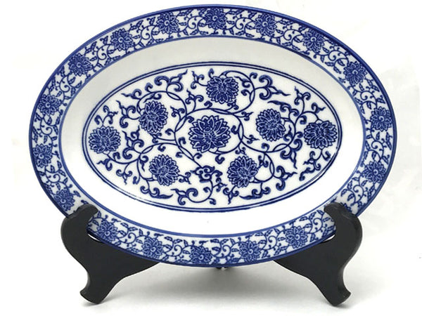 Blue Lotus & Vine Pattern - Oval Plate (**)