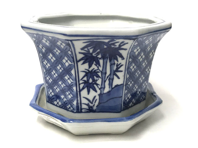 Blue on White Ceramic Flower Pot w. Tray (Octagon - Bamboo)