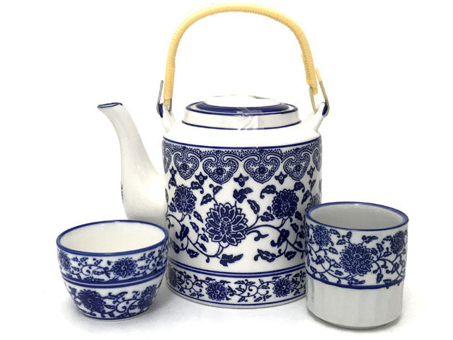 Classic Blue Lotus and Vine Design Ceramic Teapot / Tea Cup