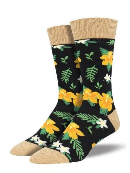 Black socks with pretty hibiscus pattern