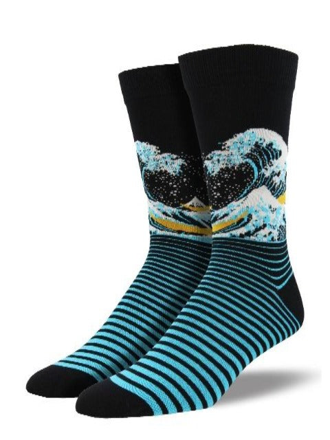 Men's Asian-Themed Novelty Socks: The Great Wave
