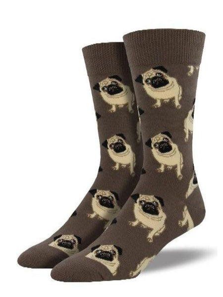 brown socks with cute pug pattern