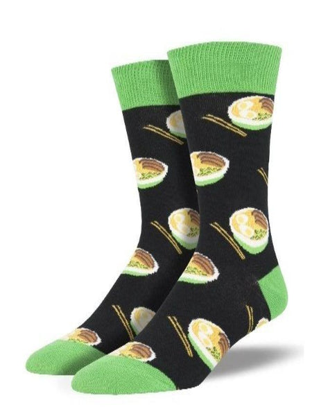 Black socks with cute noodle bowl pattern