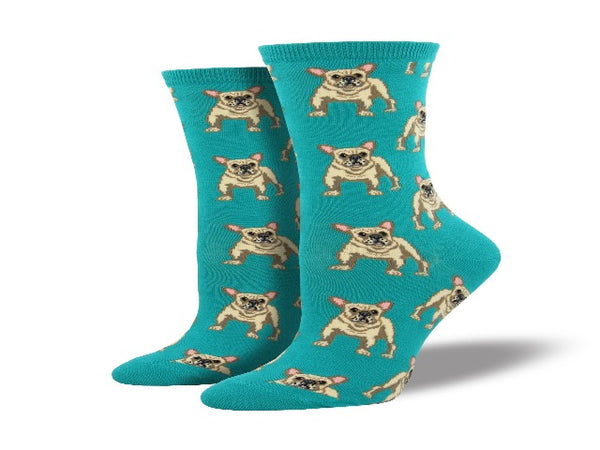 Blue socks with cute French bulldog pattern