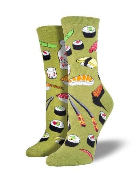 Green socks with cute sushi pattern