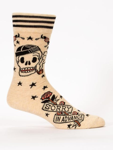 Peach socks with skull that says sorry in advance