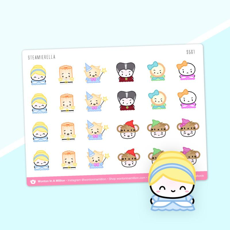 Wonton in a Million Planner Stickers: Wonton Upon A Time Steamierella