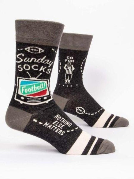 Black socks that say Sunday socks, football, and nothing else matters