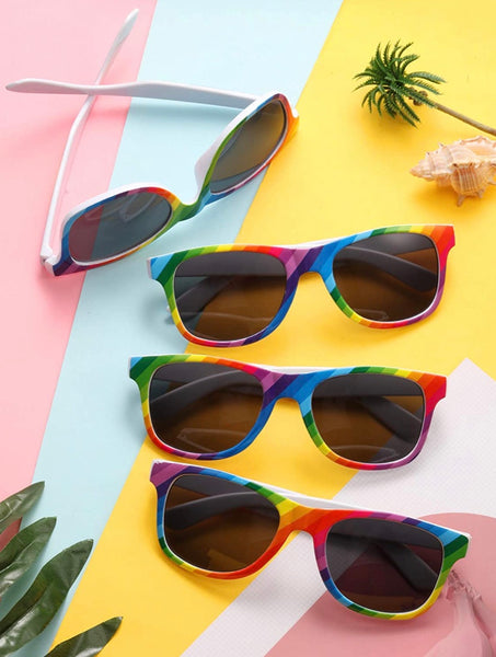 Array of rainbow sunglasses