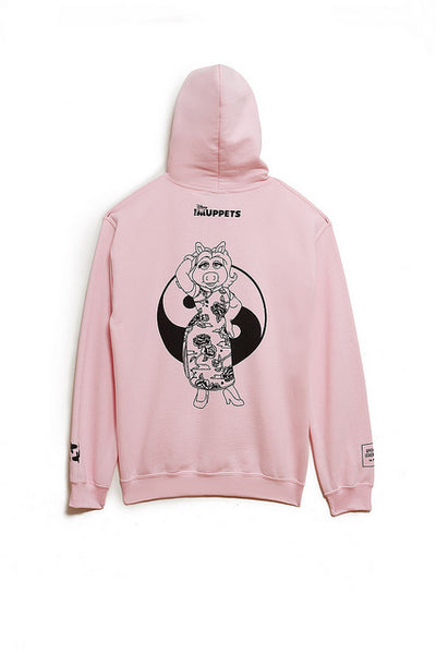 Back of pink hoodie sweatshirt with Miss Piggy and yin yang symbol