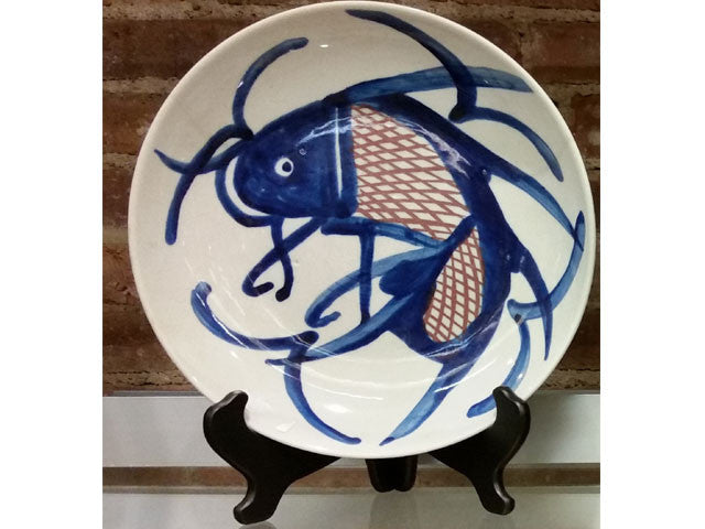 Hand Painted Blue on White Design Ceramic Plate