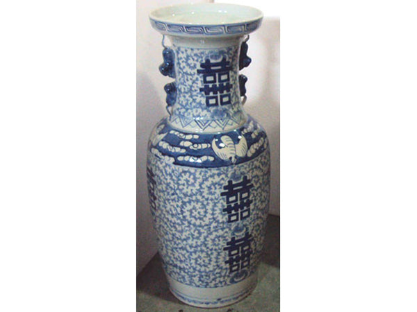 Hand Painted Blue on White Ceramic Vase