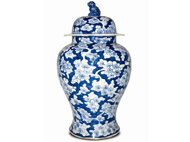 Hand Painted Blue on White Ceramic Jar