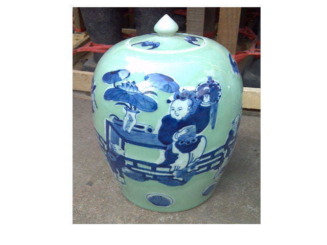 Hand Painted Celadone Ceramic Jar - 11 in. Tall