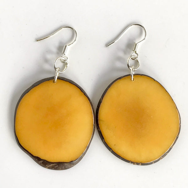 "Tagua ""Potato Chip"" Earrings"