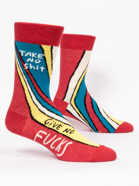 Men's red, blue, and yellow socks with text, Take No Shit Give No Fucks
