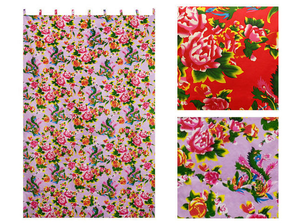 Peony Phoenix Print Cotton Curtain - 56 in. x 84 in.