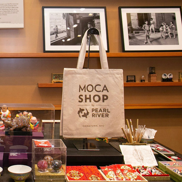Display of MOCA Shop by Pearl River tote bag