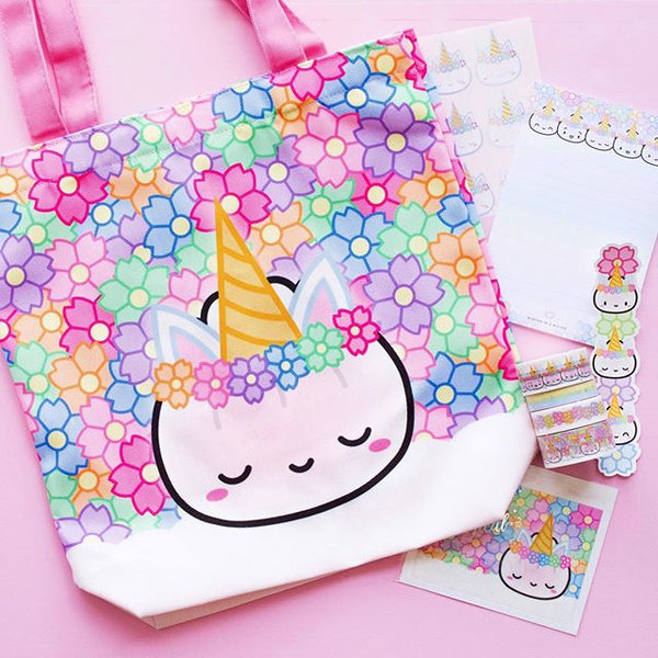 Unicorn design pastel floral tote bag