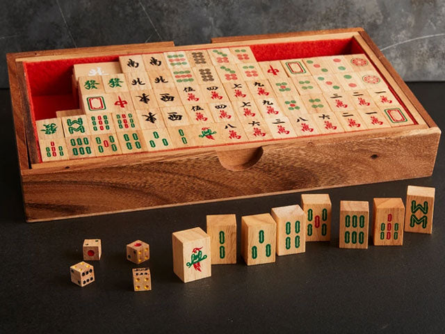 Wooden Mahjong Set