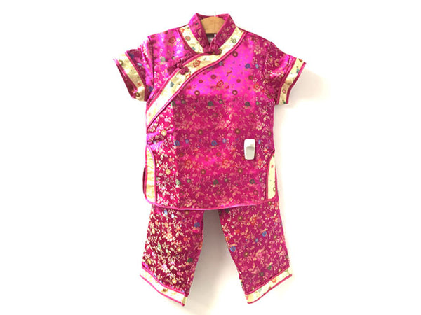 Short Sleeve Girls Mums Brocade Outfit