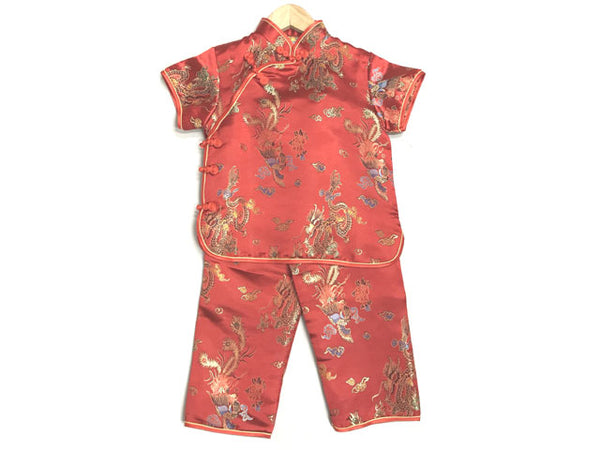 Short Sleeve Girls Dragon Phoenix Brocade Outfit