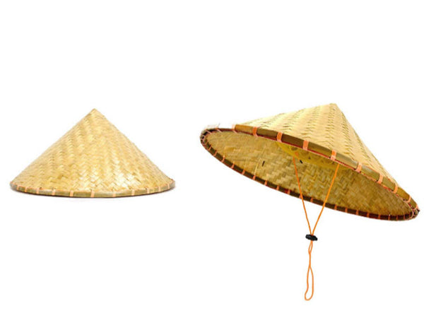 traditionally made bamboo hat with adjustable string and a sturdy rim great for the spring gardening and summer hikes