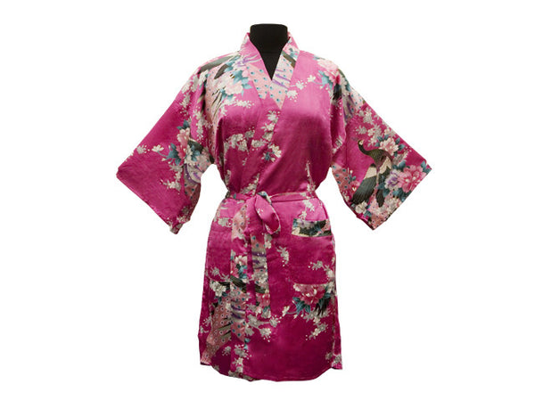 Peacock Floral Print Robe - Thigh Length