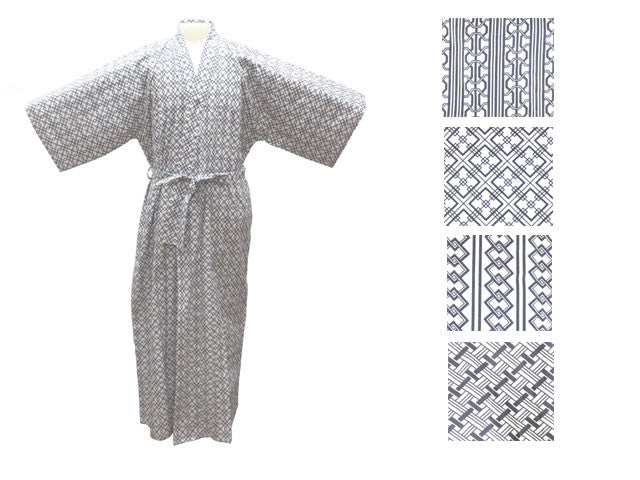 Cotton Geo-Pattern Print Robe - Ankle Length