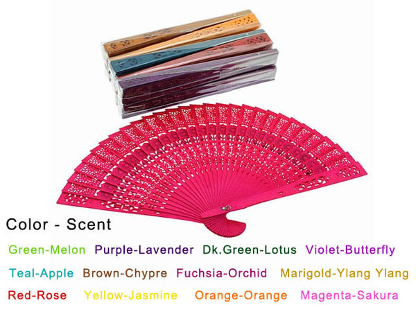 Scented Colorful Wooden Fans