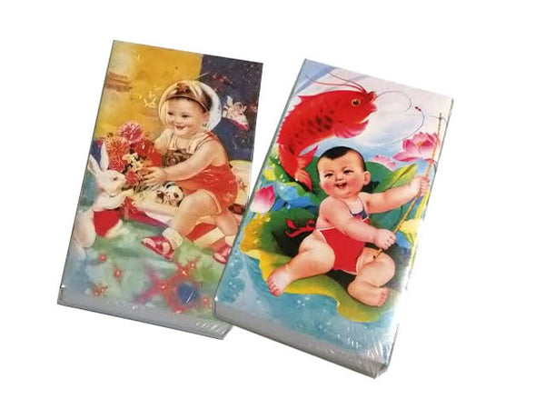 Matchboxes with traditional lucky Chinese babies