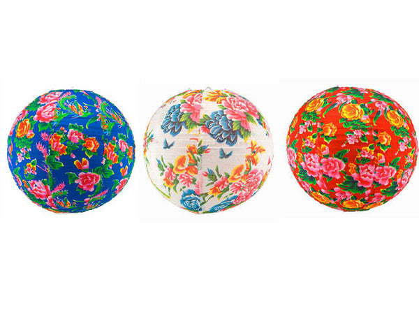 Peony Design Printed Fabric Lantern - 16 in.