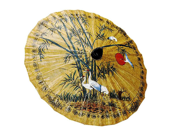 Hand Painted Bamboo & Crane Design Paper Parasol