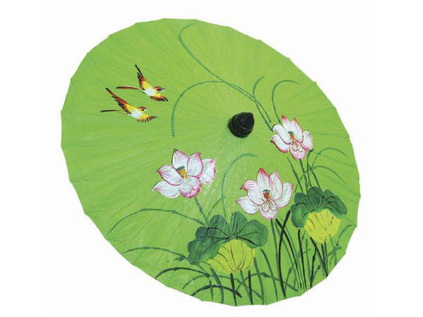 Hand Painted Lotus & Birds Design Paper Parasol