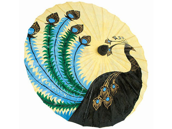 Hand Painted Peacock Design Natural Paper Parasol