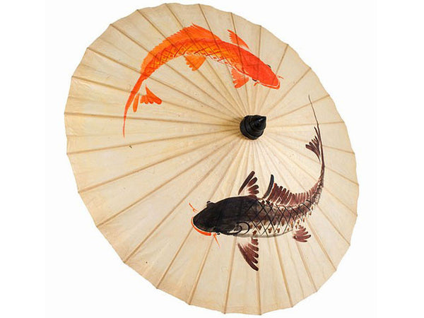 Hand Painted Koi Fish Design Paper Parasol