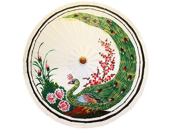Peacock Strutting Hand Painted Paper Parasol / Temp. Out of Stock
