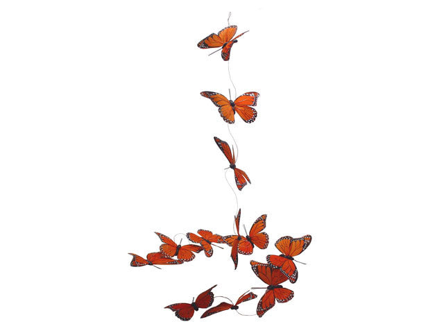 Monarch Feather Butterfly Garland - Orange (Small)