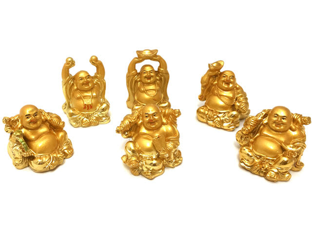 Laughing Buddha Set of 6 - Sitting Post